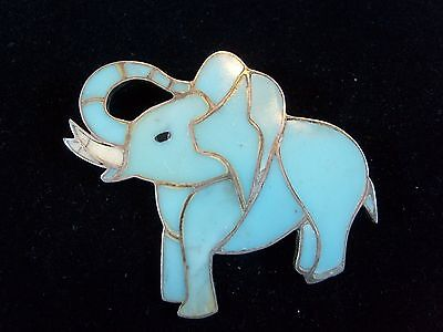Old Pawn Zuni Navajo Sterling Silver Inlay TURQUOISE Elephant Pin Brooch HUGE