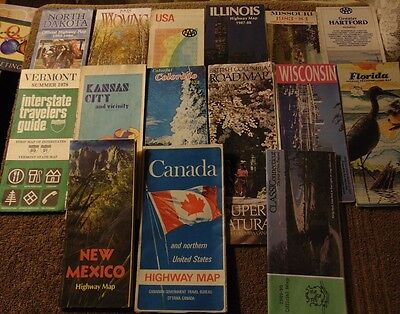Lot of 15 Assorted Older Official US & Canada Road Map (Assorted Dates 1968-98)