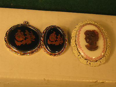 Limoges France Pendant & Matching Brooch + Cameo German Brooch Used  no chain