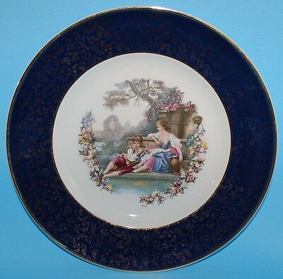 Wood and Sons Burslem England Blue and Gold Band Decorative Plate - Late 1940's
