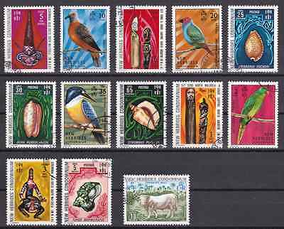 NEW HEBRIDES (Br) - 1972/75 - Birds, Crafts, Snails, Bull. Compl set, 13v. Used
