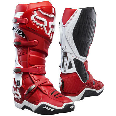 Fox MX Mens Instinct Race Boots - Red/White Motocross Trail Enduro Offroad