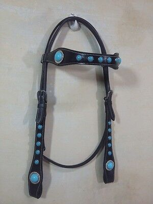 New Western Leather Headstall Turquoise Conchos & studs attach Browband Black