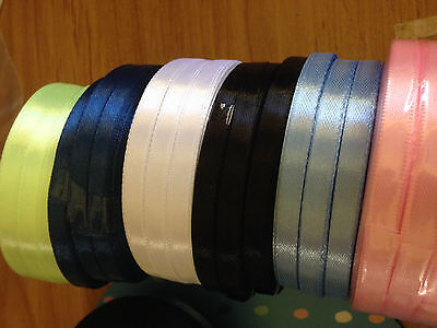 22x yards  6mm polyester satin ribbon -  colours white pink blue aqua lime green