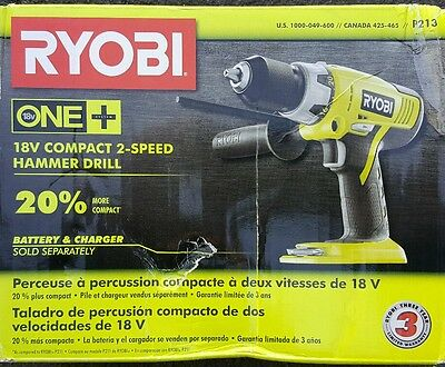 Ryobi P213 18V ONE+ 1/2in Cordless Hammer Drill(Tool Only)