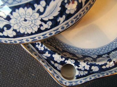 RARE Booths JACOBEAN blue and white FOOD WARMING PLATE WITH LID superb item