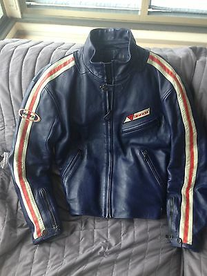 Giacca Moto In Pelle DAINESE Vintage Colore Blu Cafe'Racer