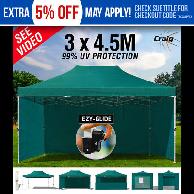 3x4.5m Gazebo Outdoor Pop Up Marquee Tent Shade Camping Green Ezy-Glide CRAIG