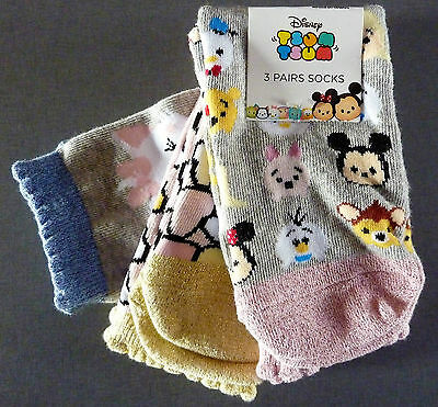 3 PAAR DiSNEY TSUM TSUM MÄDCHEN SOCKEN BAMBI MARIE MINNIE MOUSE MICKY MOUSE OLAF