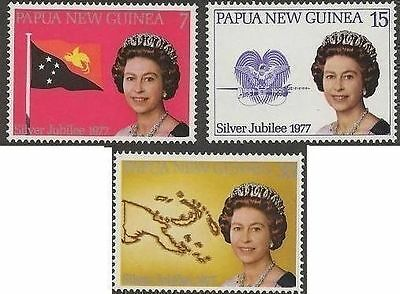 Papua New Guinea 1977 SILVER JUBILEE (3) Unhinged Mint SG 330-2