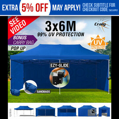 NEW 3x6m Gazebo Outdoor Marquee Pop Up BLUE Ezy-Glide Folding Tent Canopy Party
