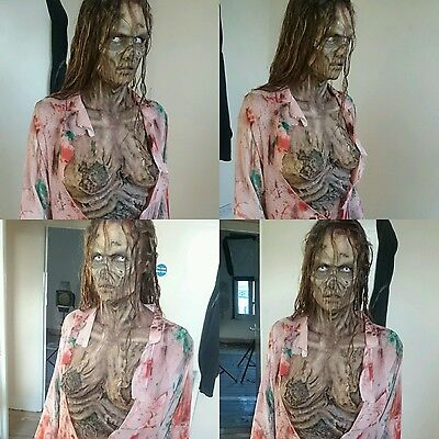 Female zombie exposed decay chest latex prosthetic