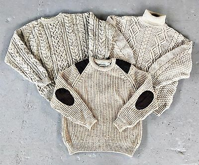 *SALE! VINTAGE WHOLESALE 30 x CABLE CHAIN ARAN KNIT JUMPERS SWEATERS GRADE A