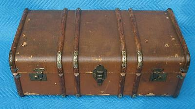 Antique British flat top steamer trunk. c1930/40s