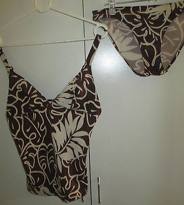 Ladies Two Piece Size M Brown White Swim Suit Swimmers Bathers Adjustable Straps
