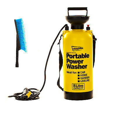 8 Litre Portable Power Pressure Car Washer Sprayer Water Capacity Hose Jet New