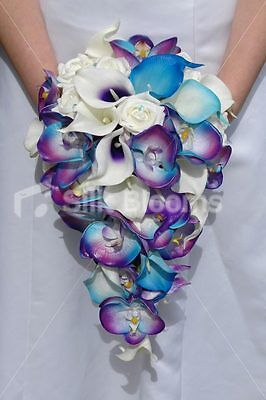 Galaxy Blue Orchid Rose Calla Lily Tropical Wedding Bouquet