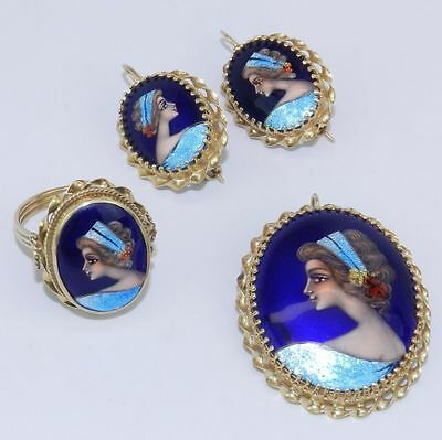 Antique 14K Yellow Gold French Hand Painted Earrings Ring Brooch Pin Pendant Set