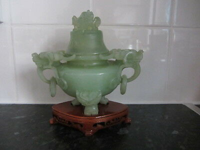 Antique Green Jade Stone Carved Dragon Incense Pot
