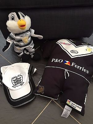 """Hull Fc Rugby Black & White Airlie Bird 12"""" Baseball Cap Double Sided Cushion"""