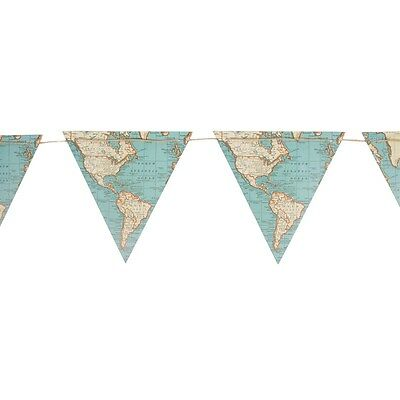 Sass & Belle Vintage Map Card Bunting -  Wedding Decoration Travel 3m 9 Flags