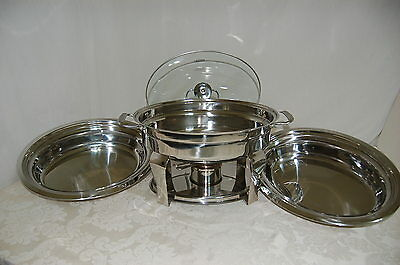 Oval Chafing Dish 4.2-Qt 9 PIECE SET by Tramontina Pro, Quilty Stainless Steel