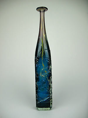 Mdina tall square blue & amethyst trailed glass attenuated bottle Signed & Dated