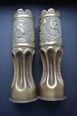 Pair of antique French WW1 trench art brass vases/ Soviet sickle and hammer