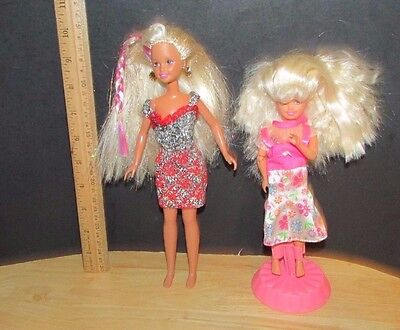 Mattel  Barbie Doll sisters lot 2 Stacie jointed & Skipper glittery hair pink