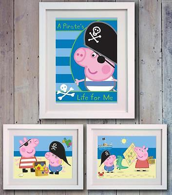 George Pig Pirate Poster Picture Print Wall Art Decor Gift Nursery Bedroom Peppa