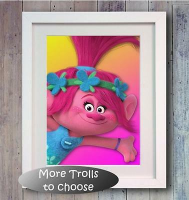 Trolls Poppy Branch Poster Picture Print wall art gift Bedroom Photo