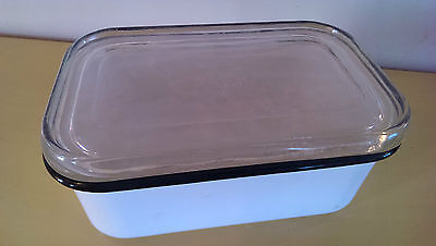 Beco Ware White Black Trim Refrigerator   Enamel Container Glass Lid