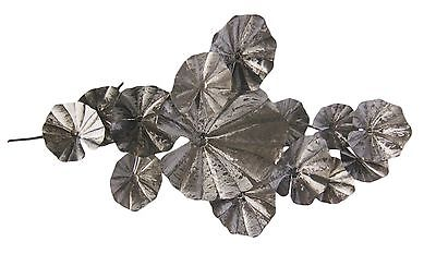 LARGE METAL WALL SCULPTURE/ WALL ART 138 cm X 72 cm Large silver TROPICAL LEAVES