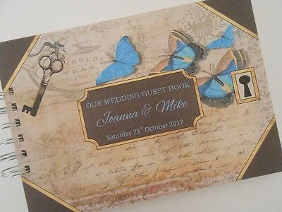 Personalised Vintage WEDDING Guest Book Photo Album Scrapbook Butterfly Lock/Key