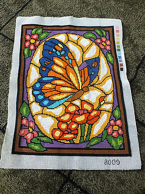 Needlepoint Sampler Complete Ready to Frame AMAZING DETAIL Stain Glass Butterfly