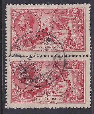 GB GV BW 5/- rose-red seahorse pair sg416 used abroad BPO Constantinople