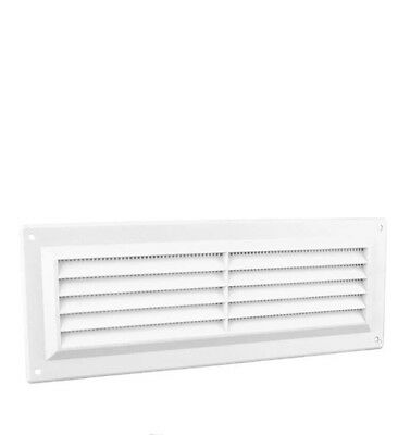 "9"" x 3"" White Plastic Louvre Air Vent Grille with Flyscreem Cover"