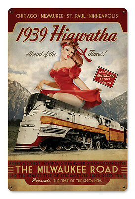 "12"" X 18"" - Milwaukee Road RR - 1939 Hiawatha - Pin Up - 24 Gauge Metal Sign"