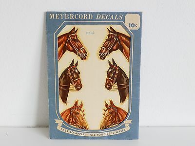 RARE Vtg 40s MEYERCORD HORSE HEADS DECAL 6 DECALS IN ONE SHEET Retro 900-B