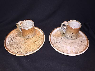 4 Hand Made Thrown Art Pottery Brown Speckle Glaze Dinner Plates & Coffee Mugs