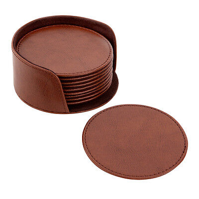 Brown Vegan/Faux Leather Coasters