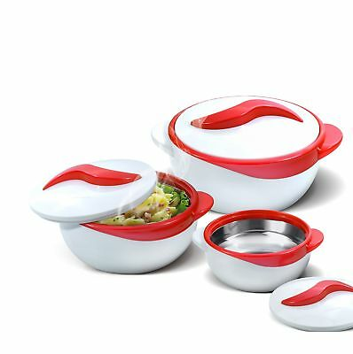 Set of 3 Thermo Dish Hot or Cold Casserole Serving Bowls with Lids Red