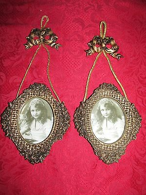 VTG Hollywood Regency Rose/Rope Hanging Bows ~ Ornate Wall Picture Frames ~ PAIR