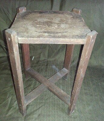 "Vintage Antique Primitive Mission Style Oak Wood 18"" Tall Side Table Plant Stand"
