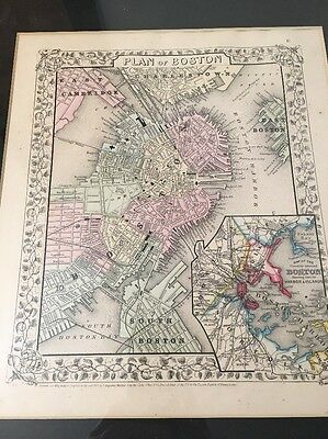 Antique 1866 Map Plan Of Boston From Mitchell Atlas