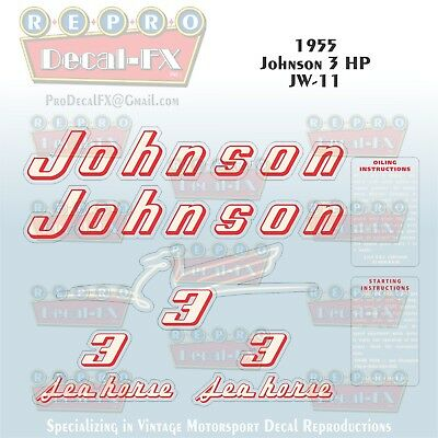 1955 Johnson 3 HP JW-11 Sea Horse Outboard Reproduction 9Pc Marine Vinyl Decals