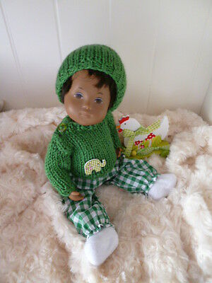 BJB Baby Sasha dolls clothes, Green sweater hat trousers booties  fit baby sasha