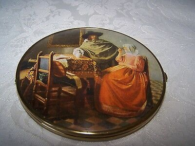Vintage Scene Ladies Vanity Double Mirror Compact Made In West Western Germany