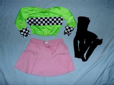 lot of 3 dance girl's m Leo's cropped top pink skirt blk leggings  FREE SHIPPING
