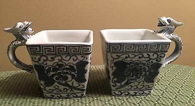 2 Vintage Handpainted Chinese Blue & White Dragon Handle Square Porcelain Cups